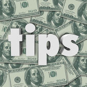 Tips Gratuity Word 3d Letters Money Cash Background — Stock Photo