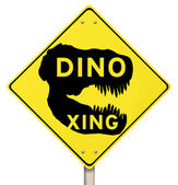 Dino Xing Dinosaur Crossing Yellow Warning Road Sign — Stock Photo