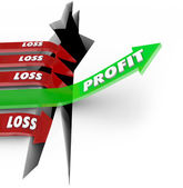 Proft Vs Loss Making Money Revenue Arrow Over Hole — Stock Photo