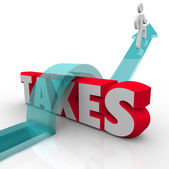 Taxes Word Man Jumping Over Money Owed Government Loophole Avoid — Stock Photo