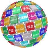 Learn word translated in different languages — Stock Photo