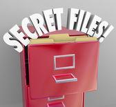 Inf clasificado archivos secretos archivador palabras 3d confidencial — Foto de Stock