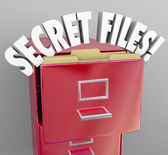 Secret Files Filing Cabinet 3d Words Confidential Classified Inf — Stock Photo