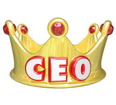 CEO word or acronym on a gold crown — Foto de Stock