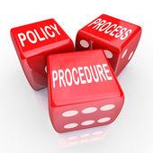 Politischen prozess verfahren 3 rote würfel firma regeln praktiken — Stockfoto