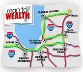 A map to wealth with directions and destination — Stock Photo