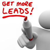 Get More Sales Leads Salesman Writing Words Increase Selling — Stock Photo