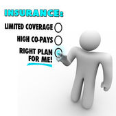 Insurance Choices Right Plan Vs Limited Coverage High Copay — Stock Photo