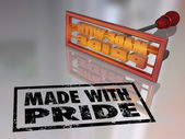 Made with Pride branding iron marking — Stock Photo