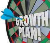 Büyüme planı kelimeler dart tahtası doğrudan isabet iyileşme hedefleme — Stok fotoğraf