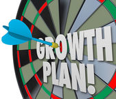 Growth Plan Words Dart Board Direct Hit Targeting Improvement In — Foto Stock