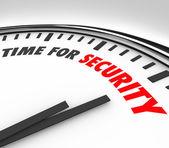 Zeit für sicherheits wörter uhr sicherheitsrisikomanagement — Stockfoto