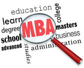 MBA Masters Business Administration Magnifying Glass Words — Stock Photo