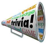Trivia Knowledge Quiz Bullhorn Megaphone Test Pop Culture — Stock Photo