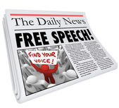 Free Speech Newspaper Headline News Media Journalism Press — Stock Photo