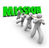 Mission Team Pulling Together Achieve Goal Objective Task — 图库照片
