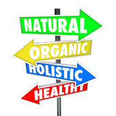 Natural Organic Holistic Healthy Eating Food Nutrition Arrow Sig — Stock Photo