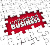 Unfinished Business Puzzle Pieces Hole Work Still to Be Done — Stock Photo
