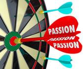 Passion Word Desire Focus Dart Board Dedication Commitment Targe — Stock Photo