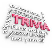 Trivia 3d Word Collage Game Questions Answers Quiz — Stock Photo