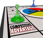 Competitive Advantage Board Game Piece Moving Forward Winner — Stockfoto