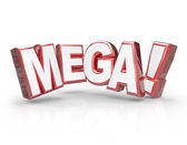 Mega word in red 3d letters — Stock Photo