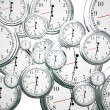 Many clocks ticking and counting down the seconds — Stock Photo #50443291