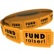Fund Raiser words on a roll of 50-50 raffle tickets — Stock Photo #50443319