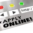 Apply Online words on a website or internet browser — Stock Photo #50443337