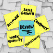 Performance Review words on yellow sticky notes — Stock Photo #50443365
