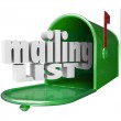 Mailing List words in 3d letters and a mailbox — Stock Photo #50443469