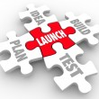 Launch puzzle pieces start new business steps — Stock Photo #50443577