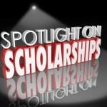 Spotlight on Scholarships words in 3d letters — Stock Photo