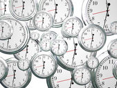 Many clocks ticking and counting down the seconds — Stock Photo