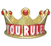 You Rule words on a gold crown — Stock Photo