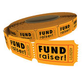 Fund Raiser words on a roll of 50-50 raffle tickets — Stock Photo