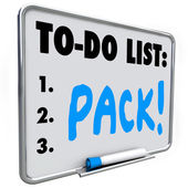 Pack word on a to-do list written on board — Stock Photo