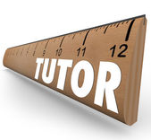 Tutor word on a ruler measuring skills — Stock Photo