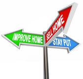 , ev geliştirmek evi satmak ya da sözcükleri koymak kalmak — Stok fotoğraf