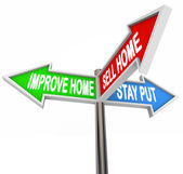 Improve Home, Sell House or Stay Put words — Photo