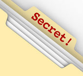 Secret word typed on a manila envelope — Stock Photo
