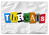 Threats word in cut out letters on a note — Stock Photo
