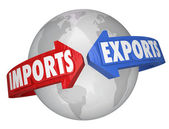Imports and Exports words on arrows around Earth — Stock Photo