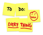 To Do list on yellow sticky notes and word Everything — Stock Photo