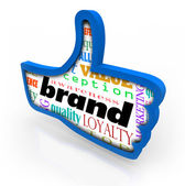 Brand word in a blue thumbs up symbol — Stock Photo