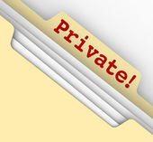 Private word in red letters on a manila folder — Stock Photo