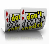 Don't Show Your Cards words on a pair of aces — Stock Photo