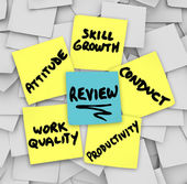 Performance Review words on yellow sticky notes — Foto de Stock