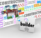 Builder word on a puzzle piece to complete a wall — Stock Photo