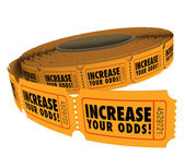Increase Your Odds words on a roll of raffle — Stock Photo